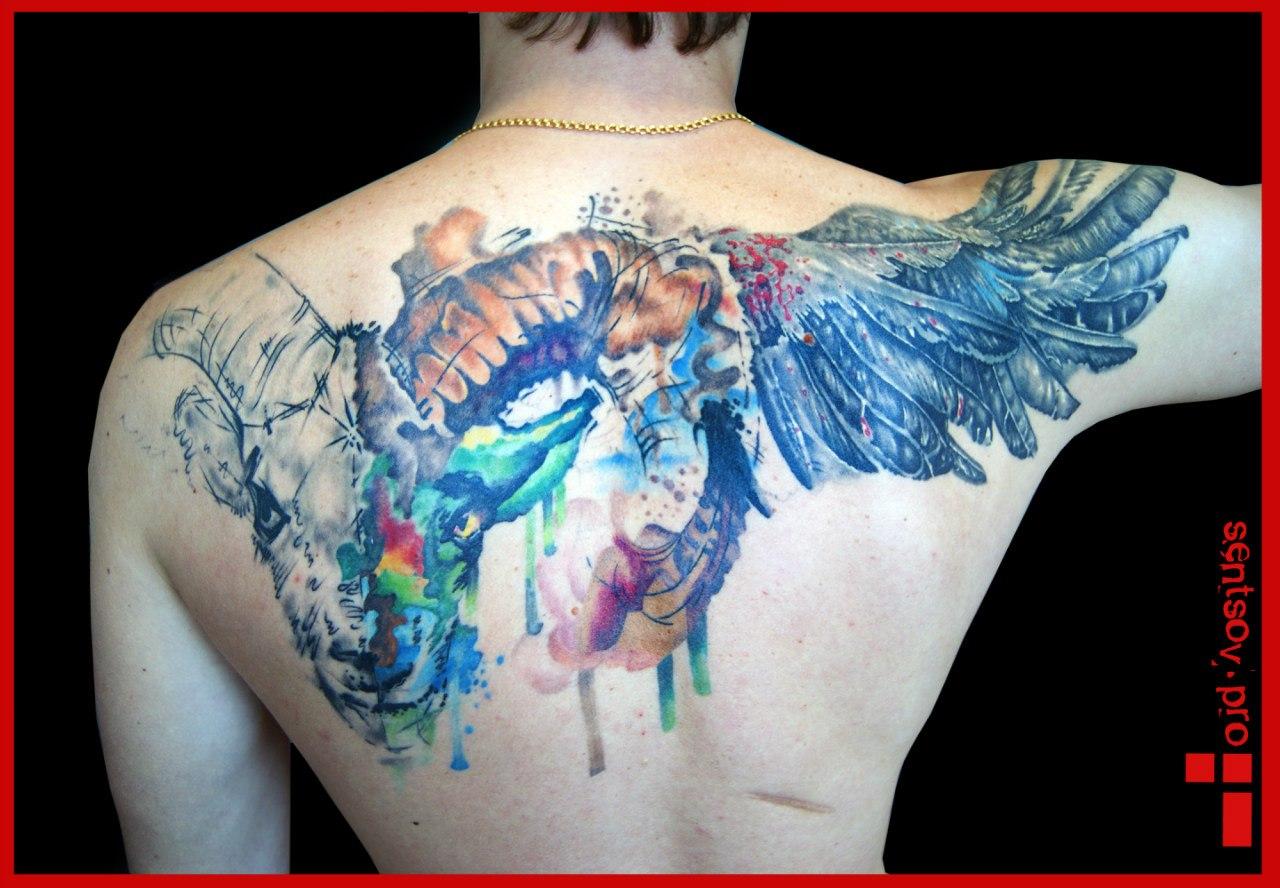 Крылья тату на спине у девушки эскизы и