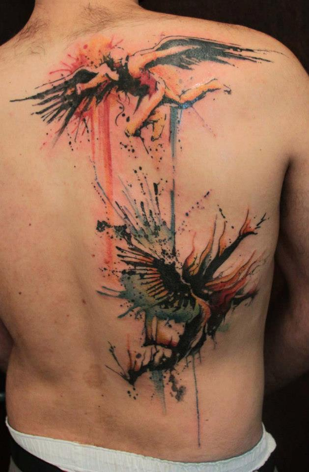 Angels and demons back tattoos