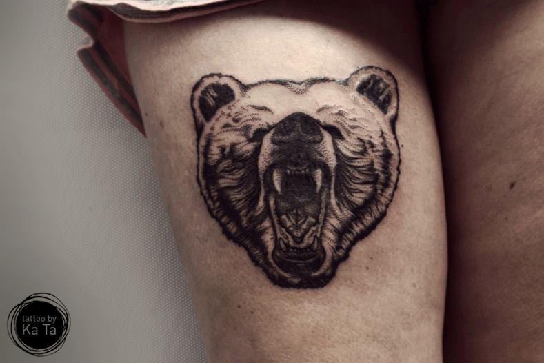 Медведи тату на ноге