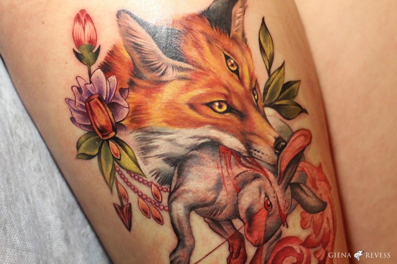 Татуировка лиса. Символика, основное 36