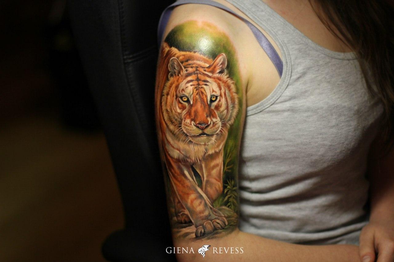 Тату тигров цветное фото