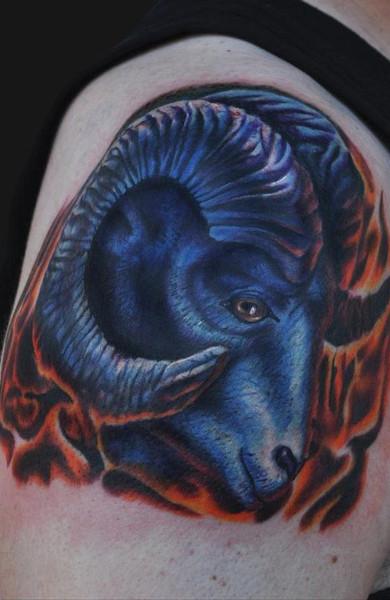 Татуировка знак зодиака овен