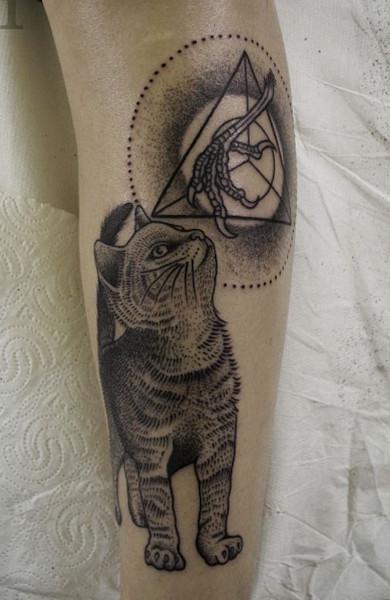 эскиз татуировка кошка