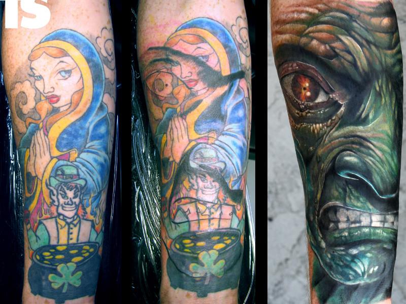 Перекрытие татуировок на руке фото