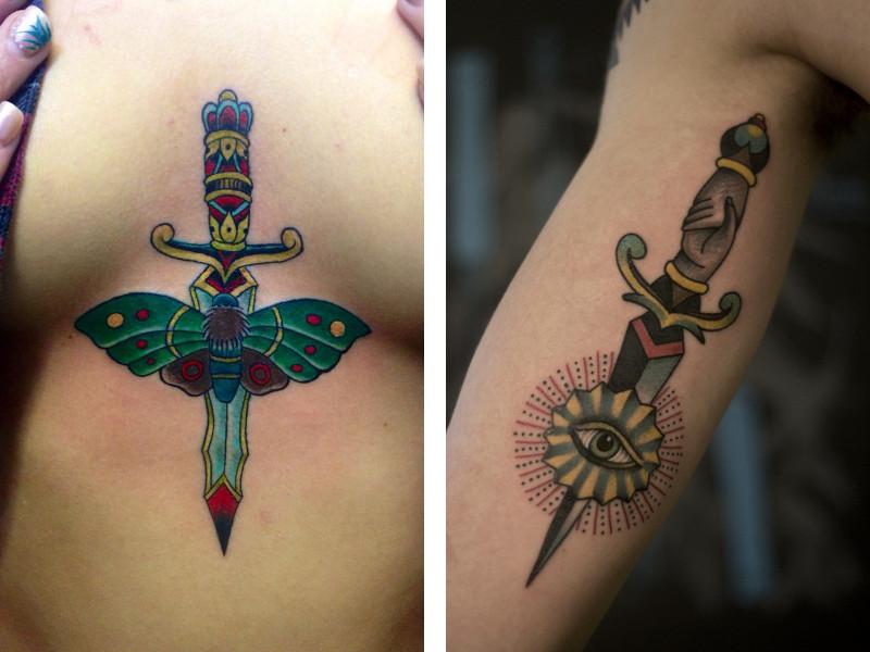 Татуировка кинжал в разных стилях