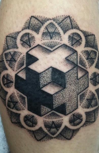 Татуировка в стиле дотворк