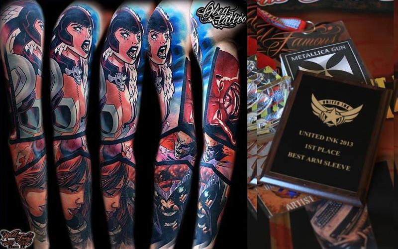 Татуировка по комиксам на руке Константина