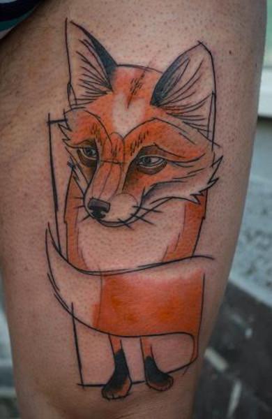 эскиз татуировка лиса
