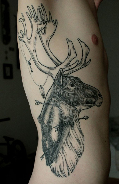 Эскиз татуировка рога