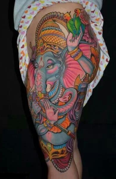 Татуировка индийский слон