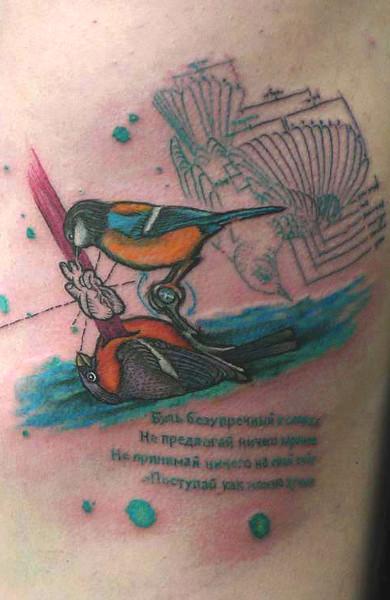 Татуировка любовь у птиц