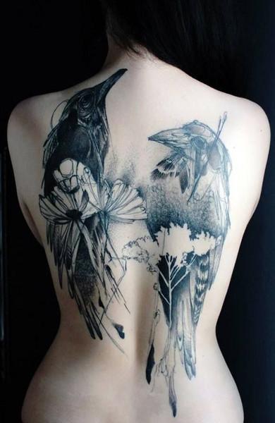 фото татуировка ворон
