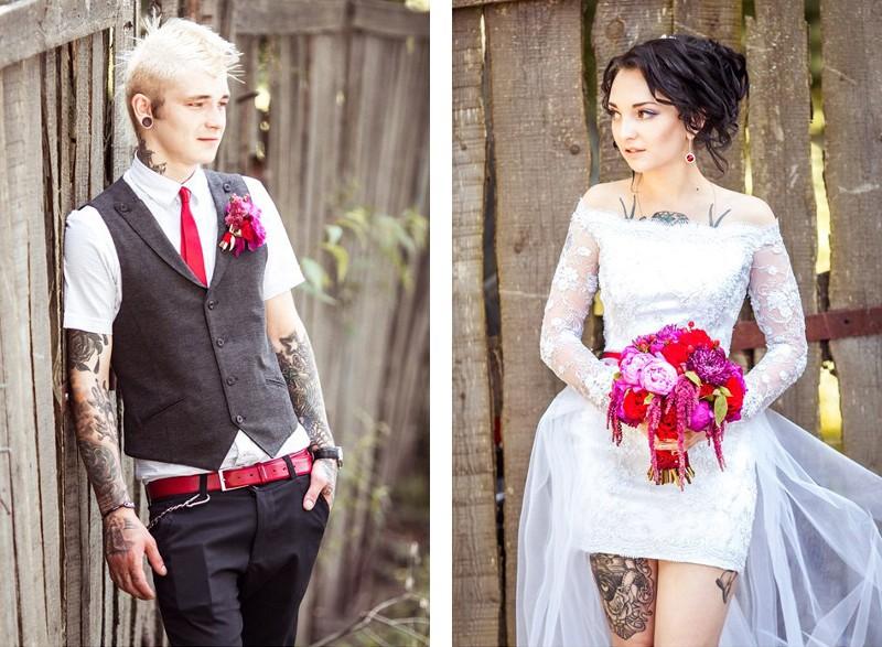 Свадебные фото татуированных людей