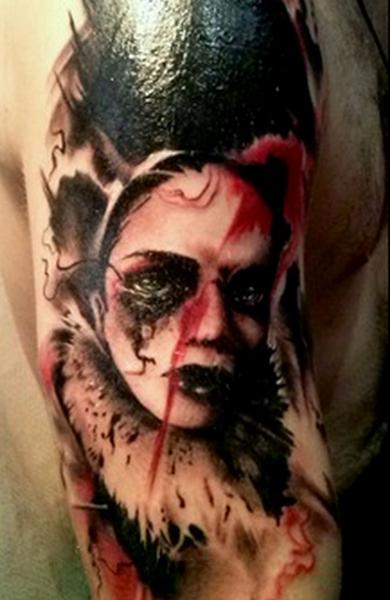 Татуировка лицо девушки