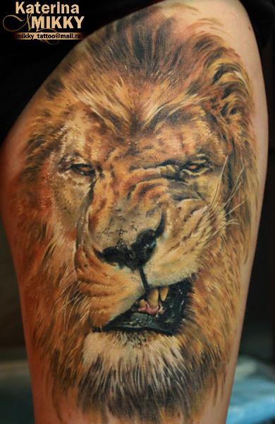 Татуировка оскал льва