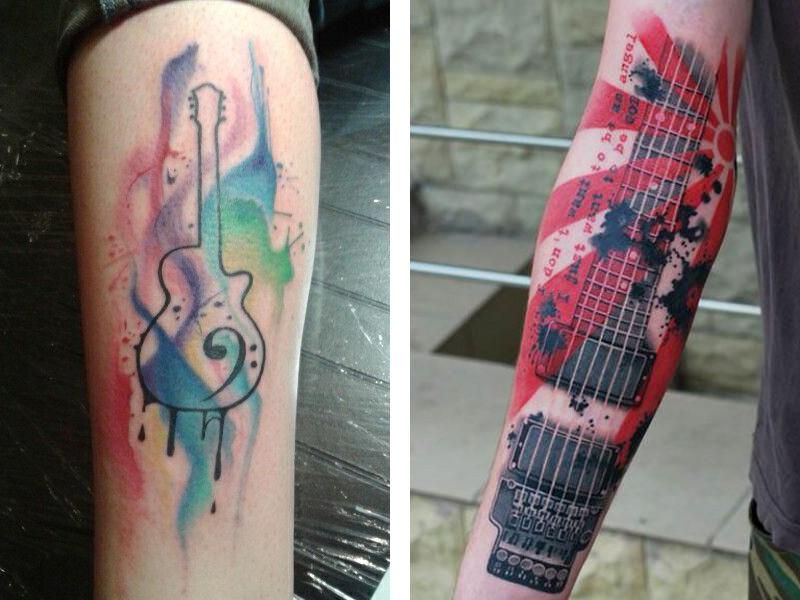 Цветная тату гитары