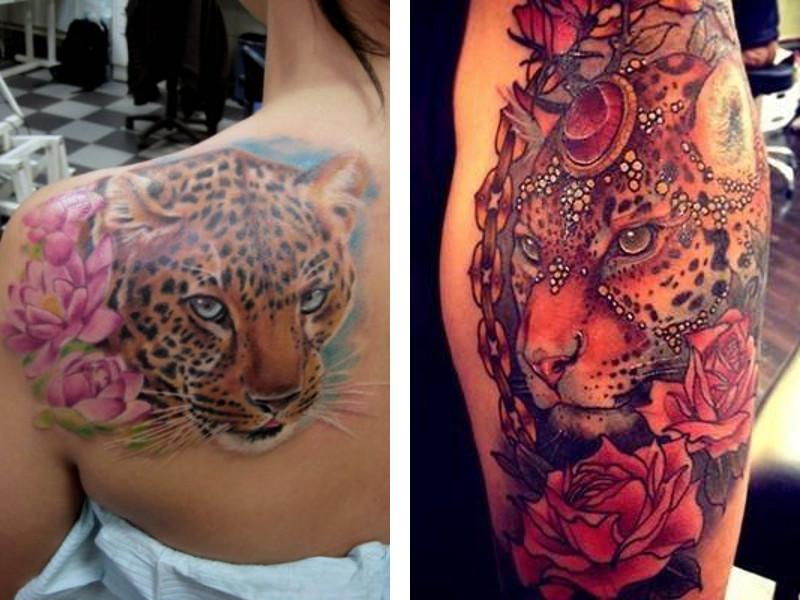 Две татуировки леопард