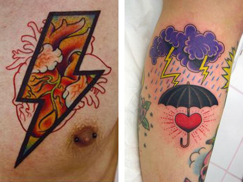 Две татуировки с изображением молнии