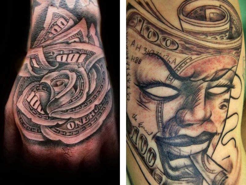 Две татуировки с изображением денег в разных стилях