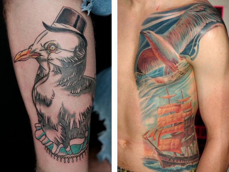 Тату с чайками в разных стилях