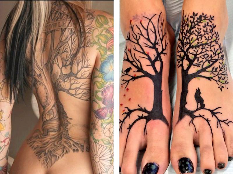 Красивые татуировки древа жизни на спине и на стопах у девушек