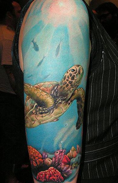 эскиз татуировки черепаха