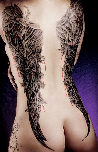 эскиз таутировки крылья