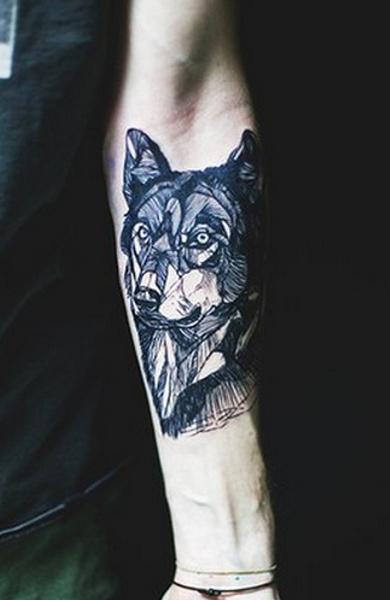 Эскиз татуировки волк