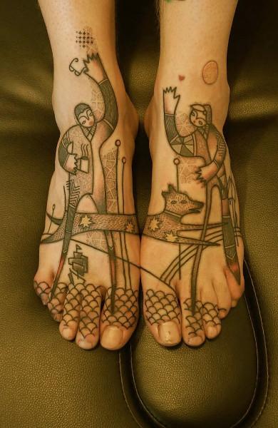 Татуировки в стиле ар брют