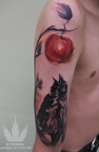 Татуировка яблоко и ворона