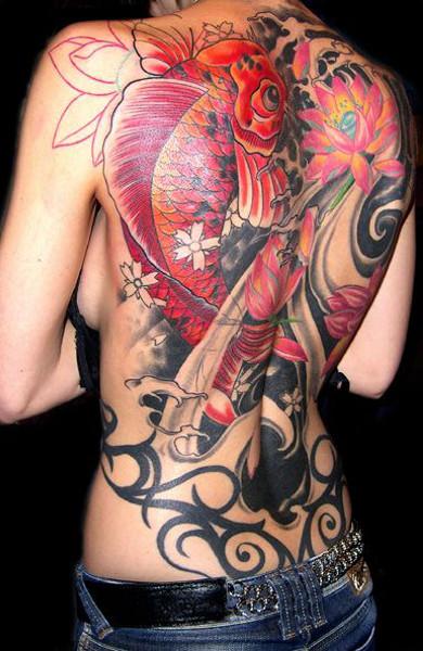 эскиз татуировка карп