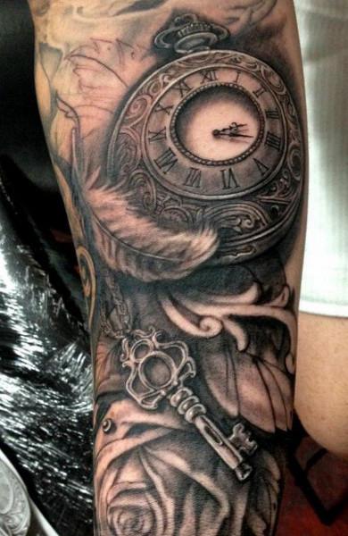 эскиз татуировка часы