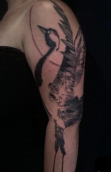 Татуировка журавль