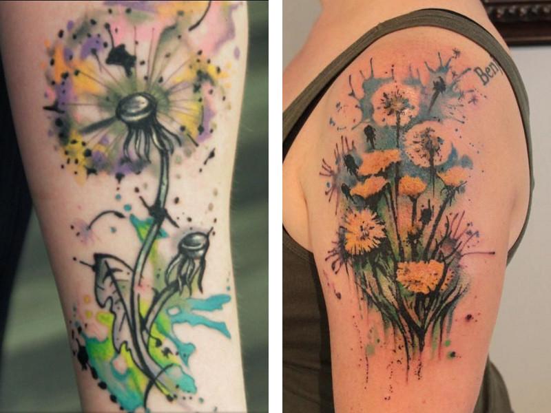 Две татуировки с изображением одуванчика