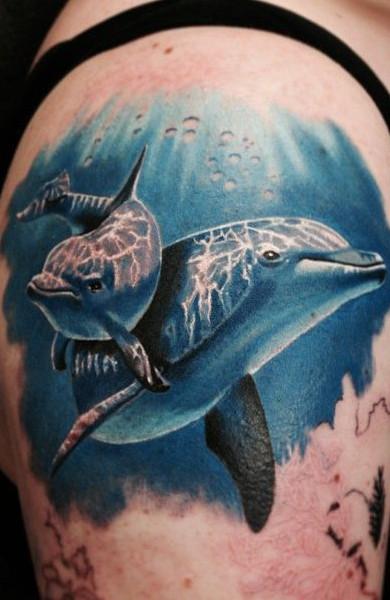 эскиз татуировка дельфин