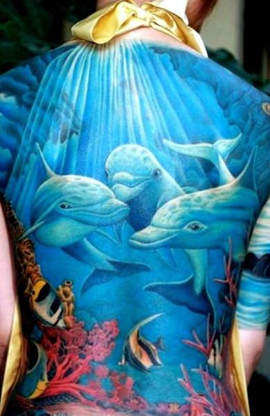 эскиз тату дельфин