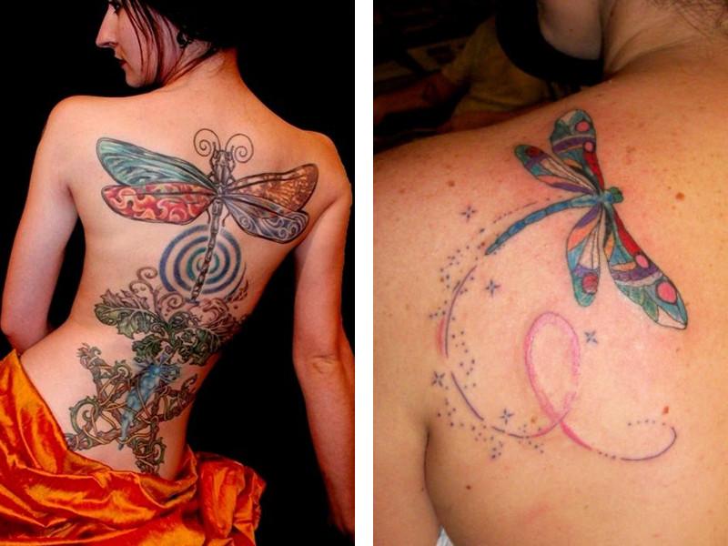 Две татуировки стрекоза