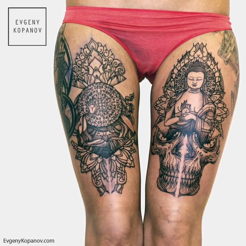 Парная татуировка на тему Буддизма и тайских орнаментов