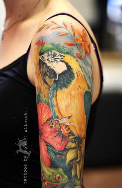 Татуировка попугай