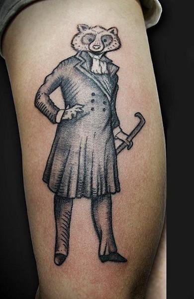Эскиз татуировка енот