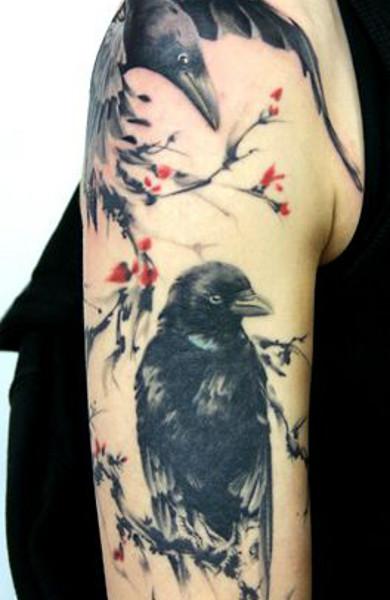 эскиз татуировки ворон
