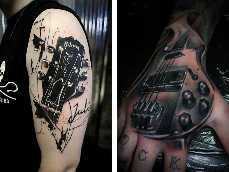 Две разные татуировки с изображением гитары
