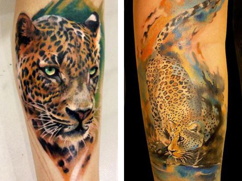 Тату с изображение леопарда