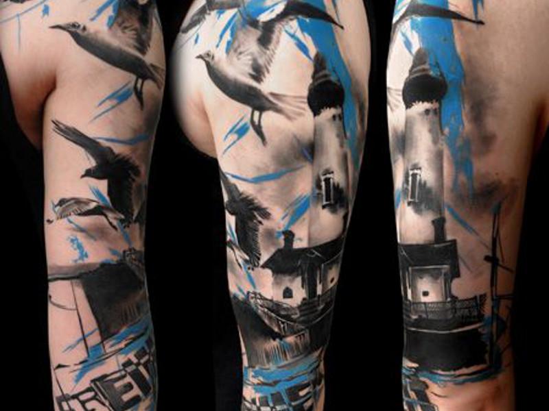 Татуировка маяк в стиле Трэш-полька