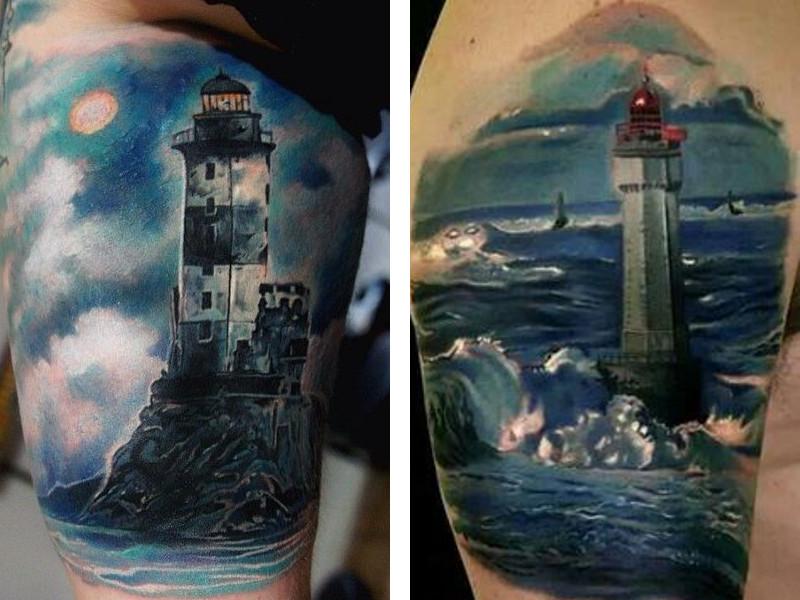 Две цветные татуировки маяка
