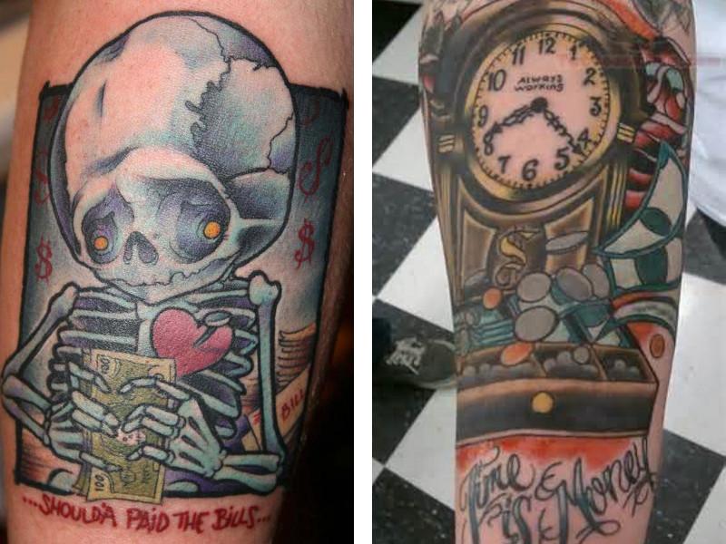 Татуировка деньги в разных стилях