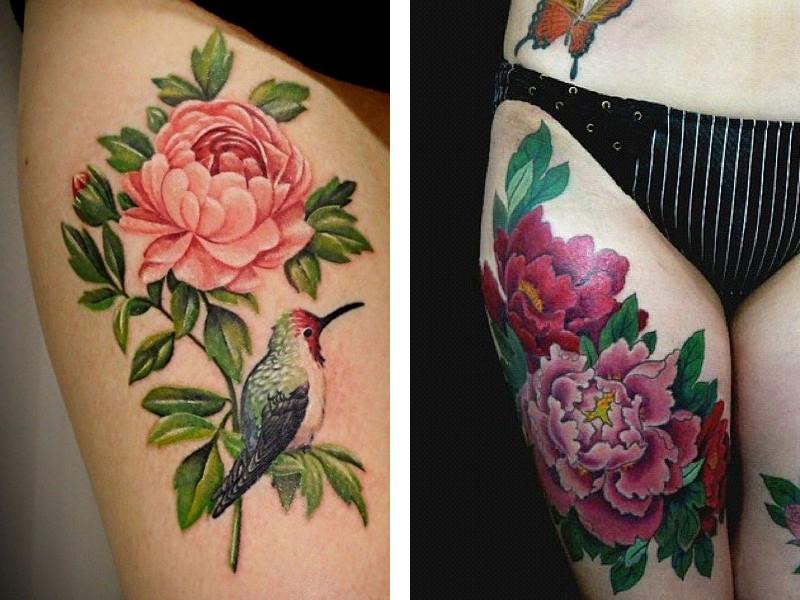 Татуировка пион на женских ножках