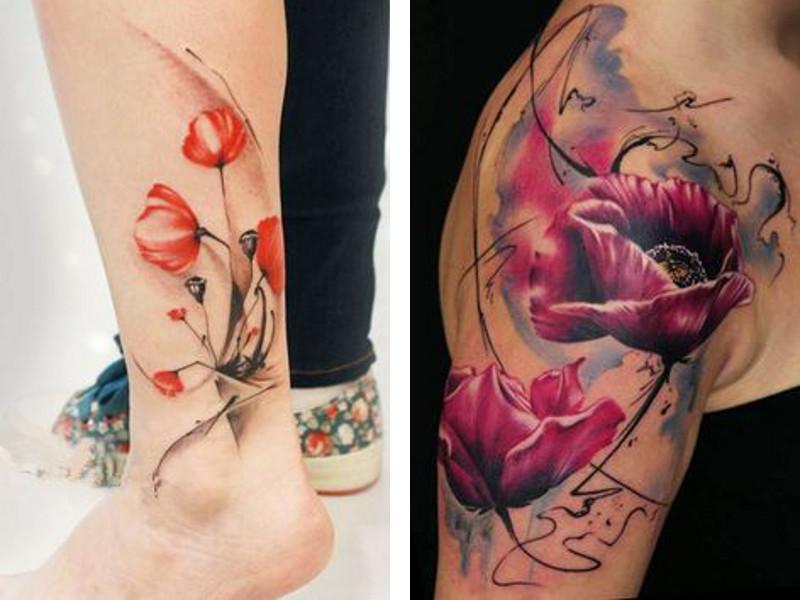 Две татировки мак в разных стилях