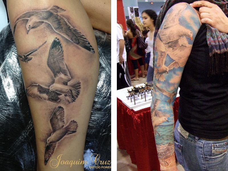 Две татуировки с чайками