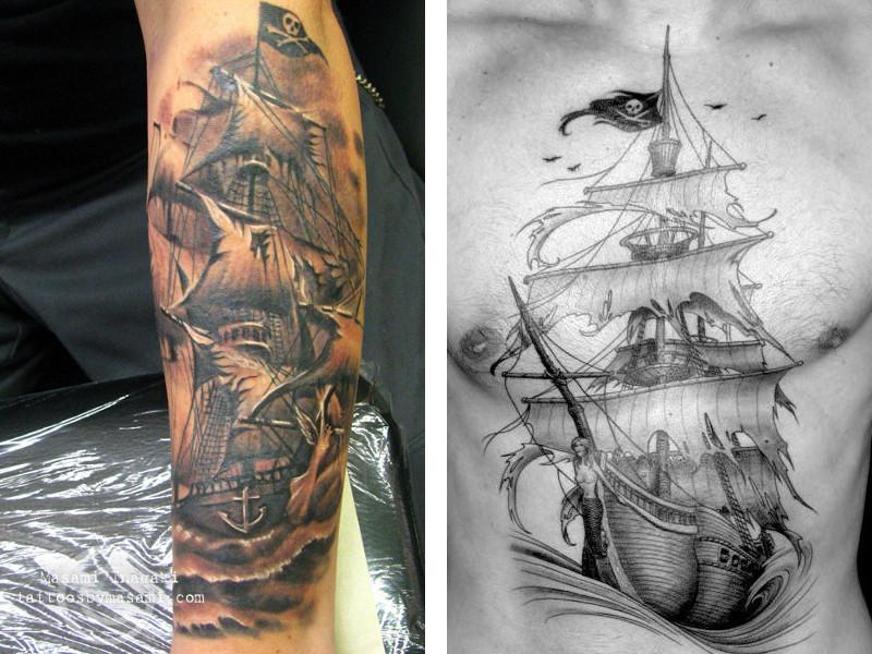 Татуировка корабль и ее значение